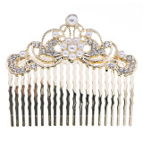 Bridal Wedding Jewelry Crystal Rhinestone Pearl Beautiful Vintage Hair Comb Gold