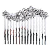 Bridal Wedding Jewelry Crystal Rhinestone Adorable Wave Design Hair Comb Silver