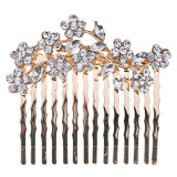 Bridal Wedding Jewelry Crystal Rhinestone Gorgeous Small Floral Hair Comb Gold