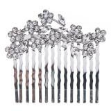 Bridal Wedding Jewelry Crystal Rhinestone Gorgeous Small Floral Hair Comb Silver