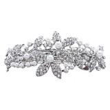Bridal Wedding Jewelry Crystal Rhinestone Pearl Floral Hair Barrette Clip Silver