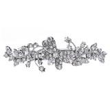 Bridal Wedding Jewelry Crystal Rhinestone Butterfly Hair Barrette Clip Silver