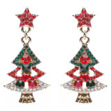 Christmas Jewelry Crystal Rhinestone Sparkle Trees Charm Dangle Earrings Gold