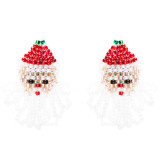 Christmas Jewelry Beads Santa Claus Face Clip-on Stud Fashion Earrings E880 Red