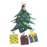 Christmas Jewelry Crystal Rhinestone Holiday Gift Presents Tree Brooch Pin BH125