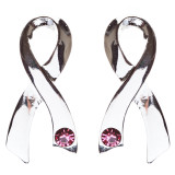 Pink Ribbon Jewelry Crystal Rhinestone Beautiful Large Ribbon Earrings E814 SLV