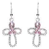 Pink Ribbon Jewelry Crystal Rhinestone Striking Dangle Charm Earrings E816 Pink