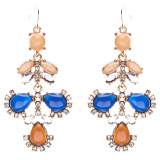 Modern Fashion Crystal Rhinestone Beautiful Floral Design Necklace E819 Navy