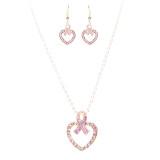 Pink Ribbon Jewelry Crystal Rhinestone Charming Heart Necklace Set JN259 Pink