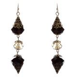 Trendy Fashion Crystal Rhinestone Stylish Pointed Tear Drop Earrings E829 Black