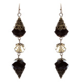 Trendy Fashion Crystal Rhinestone Stylish Pointed Tear Drop Earrings E829 Black