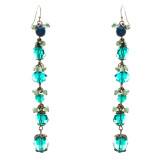 Modern Trend Crystal Rhinestone Charming Linear Dangle Earrings E832 Green