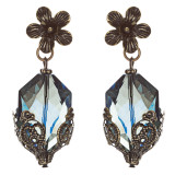 Contemporary Fashion Uniquely Charming Floral Design Dangle Earrings E835 Blue