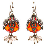 Bold Fashion Crystal Rhinestone Brassy Antique Cluster Ball Earrings E843 Red