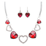 Valentine's Day Jewelry Crystal Rhinestone Trendy Heart Necklace Set JN168 Red