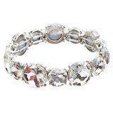 Bridal Wedding Jewelry Crystal Rhinestone Classic Engrossed Bracelet B417 Silver