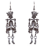 Halloween Costume Jewelry Crystal Rhinestone Skeleton Dangle Earrings E767 Black