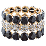 Beautiful Crystal Rhinestone Bridal Fashion Stretch Bracelet B512 Gold Black