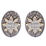 Sophisticated Classic Gorgeous Two-Tone Crystal Rhinestone Earrings E990 GDSV