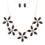 Gorgeous Floral Crystal Rhinestone Statement Necklace Set JN273 Gold Black