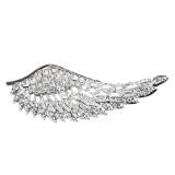 Dazzling Wing Charm Design Crystal Rhinestone Brooch Pink BH167 Silver