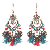 Beautiful Statement Fashion Style Tassel  Beads Dangle Earrings E952 Green Red