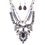 Stunning Magnificent Bead Crystal Rhinestone Statement Necklace Set JN269 Black