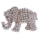 Fun Adorable Elephant Charm Crystal Rhinestone Brooch Pin BH188 Silver