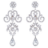 Bridal Wedding Jewelry Crystal Rhinestone Stunning Dangle Earrings E1021 Silver