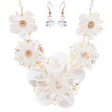 Enchanting Floral Design Bridal Wedding Bold Statement Necklace Set JN288 Gold