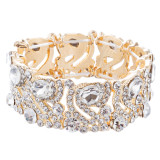 Bridal Wedding Jewelry Crystal Rhinestone Stunning Stretch Bracelet B526 Gold