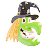 Halloween Costume Jewelry Fun Witch Face Charm Brooch Pin BH82 Green