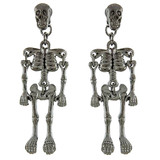 Halloween Costume Jewelry Enamel Dangling Skull Ornate Drop Earring E1140 Black