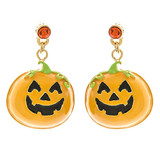 Halloween Costume Jewelry Crystal Rhinestone Pumpkin Face Earrings E1175 Orange