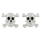 Halloween Costume Jewelry Crystal Rhinestone Skull Bone Earrings E1178 Silver