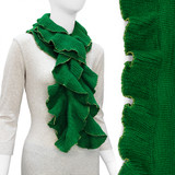 Beautiful Ruffle with Gold Trim Fashion Cold Weather Scarf Green