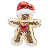 Christmas Jewelry Crystal Rhinestone Cute Gingerbread Man Heart Brooch Pin Gold
