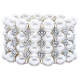 Bridal Wedding Jewelry Stunning 4 Rows Pearl Crystal Stretch Bracelet Silver