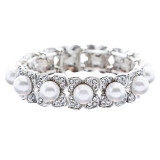 Bridal Wedding Jewelry Elegant Crystal Pearl Flower Stretch Bracelet Silver WT