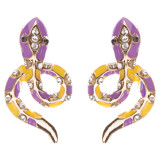 Fashion Jewelry Brilliant Crystal Rhinestones Two Tone Snake Stud Earring Purple