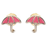 Cute Mini Umbrella Design 7mm Stud Fashion Earrings Gold Pink