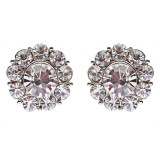 Bridal Wedding Jewelry Crystal Rhinestone Adorable Rounded Stud Earrings Silver
