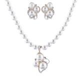 Bridal Wedding Jewelry Set Crystal Rhinestone Pearl Cluster Stud Necklace Silver