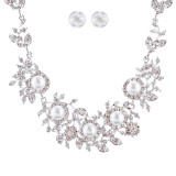 Bridal Wedding Jewelry Crystal Rhinestone Pearl Brilliant Elegant Necklace SV