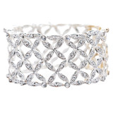 Bridal Wedding Prom Jewelry Crystal Rhinestone Stunning Stretch Bracelet B384 SV