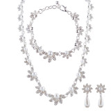 Bridal Wedding Jewelry Crystal Rhinestone Necklace Set Sweet Floral J425 Silver