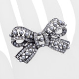 Beautiful Fashion Bow Ribbon Stretch Ring Gray