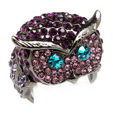 Owl Animal 3D Crystal Rhinestone Stretch Ring Purple