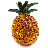Pineapple Crystal Rhinestone Fruit Stretch Adjustable Cocktail Ring Yellow