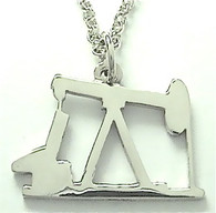 "STERLING SILVER OIL PUMP JACK PENDANT with 24"" chain (LRG)"